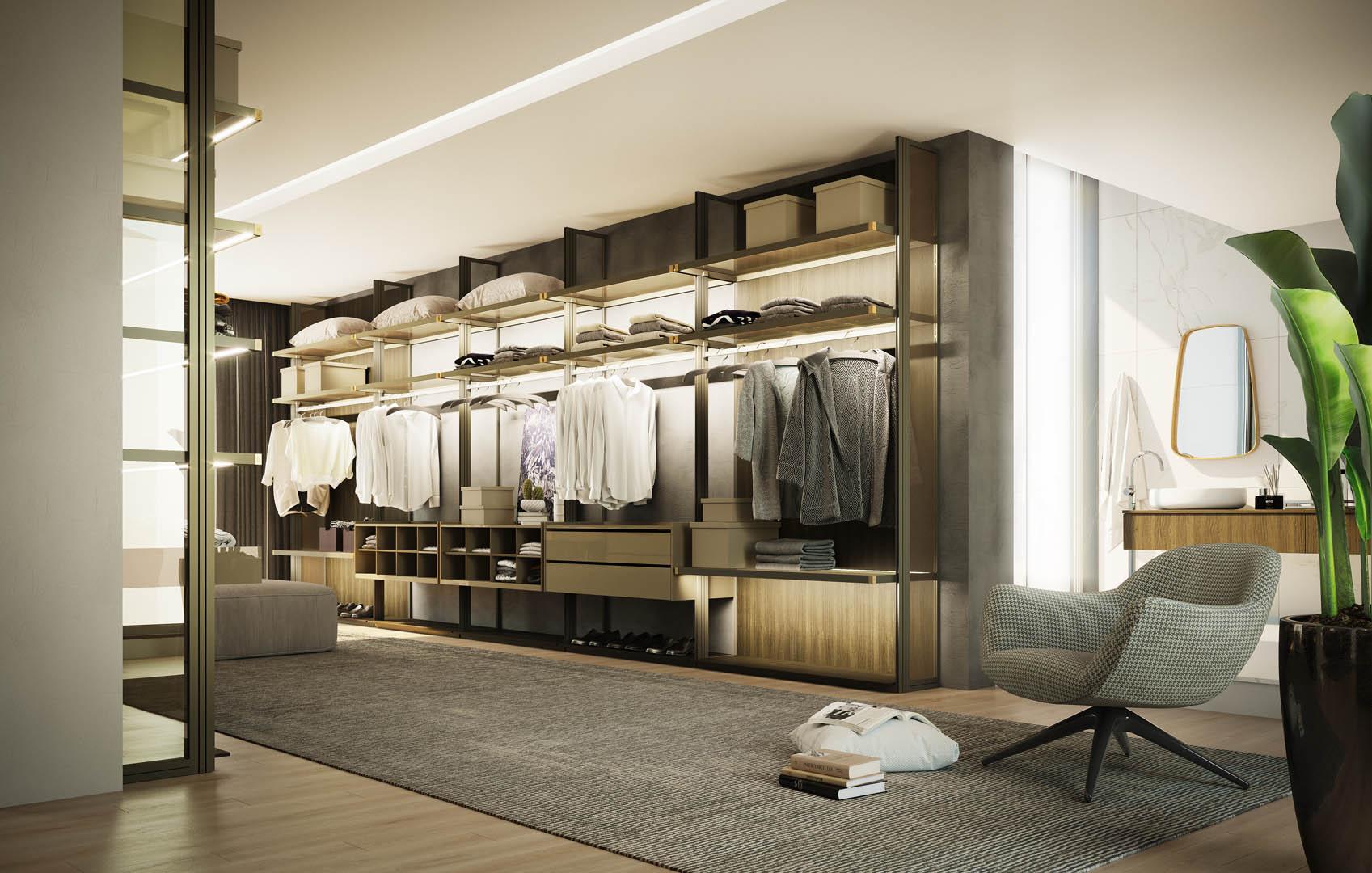 Armários, closets ou estantes com sistema Luce